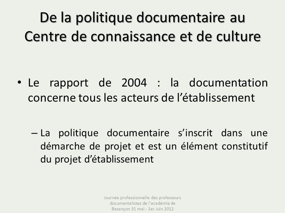 De la politique documentaire au Centre de connaissance et de culture