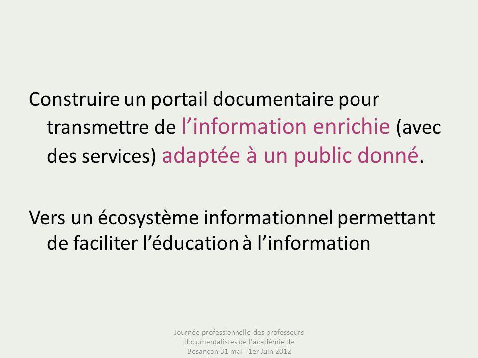 Construire un portail documentaire pour transmettre de l'information enrichie (avec des services) adaptée à un public donné. Vers un écosystème informationnel permettant de faciliter l'éducation à l'information