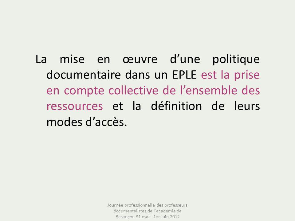 La mise en œuvre d'une politique documentaire dans un EPLE est la prise en compte collective de l'ensemble des ressources et la définition de leurs modes d'accès.