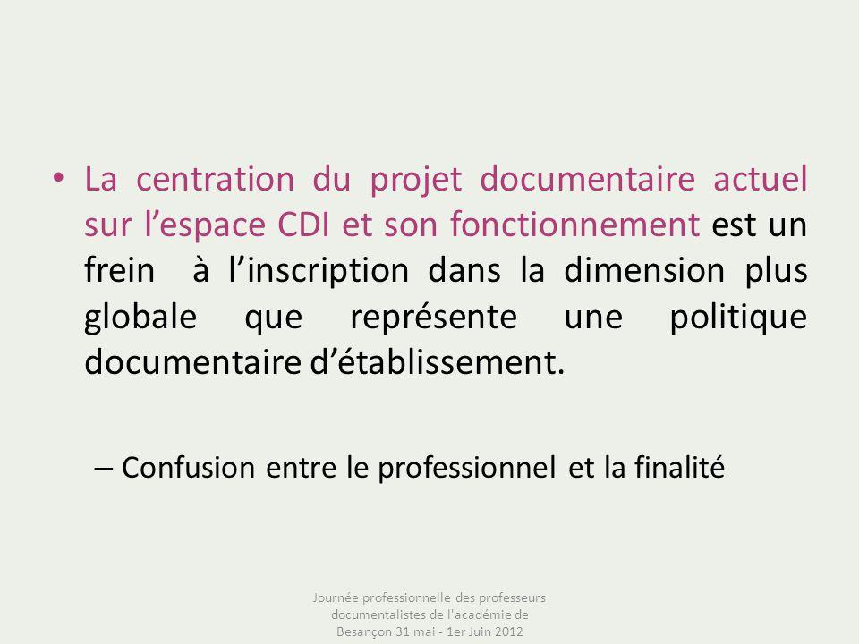 La centration du projet documentaire actuel sur l'espace CDI et son fonctionnement est un frein à l'inscription dans la dimension plus globale que représente une politique documentaire d'établissement.