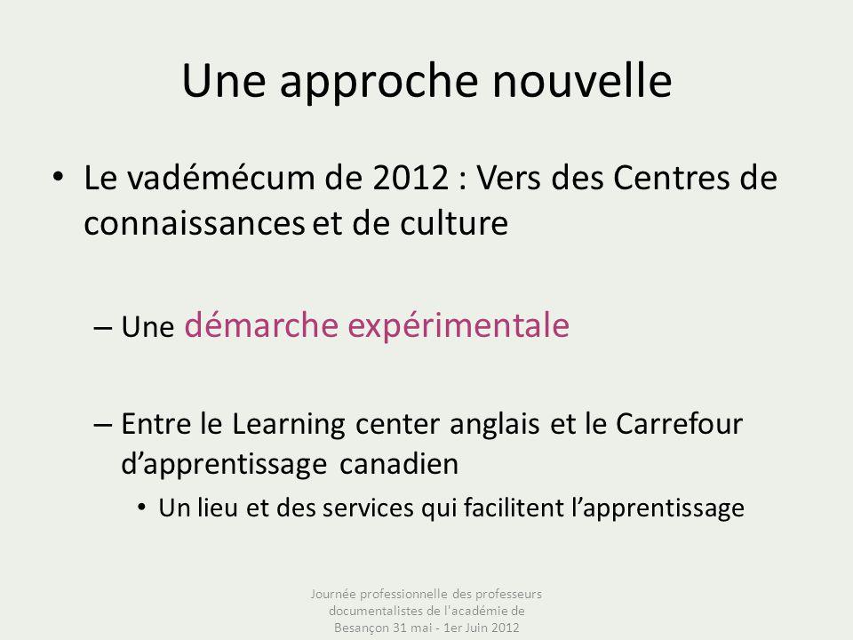 Une approche nouvelle Le vadémécum de 2012 : Vers des Centres de connaissances et de culture. Une démarche expérimentale.