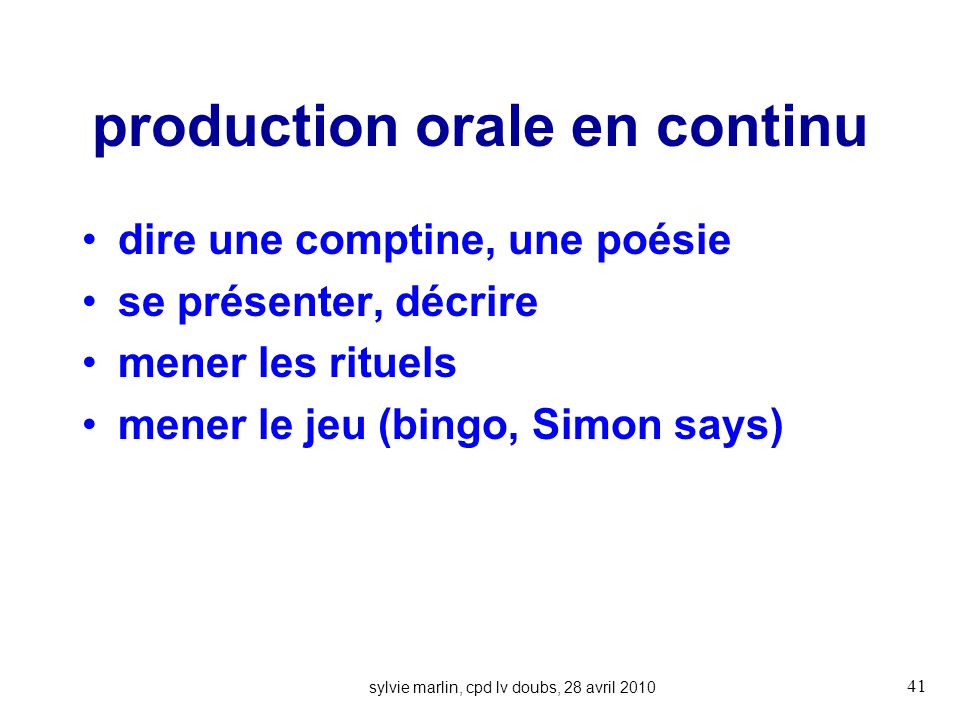 production orale en continu