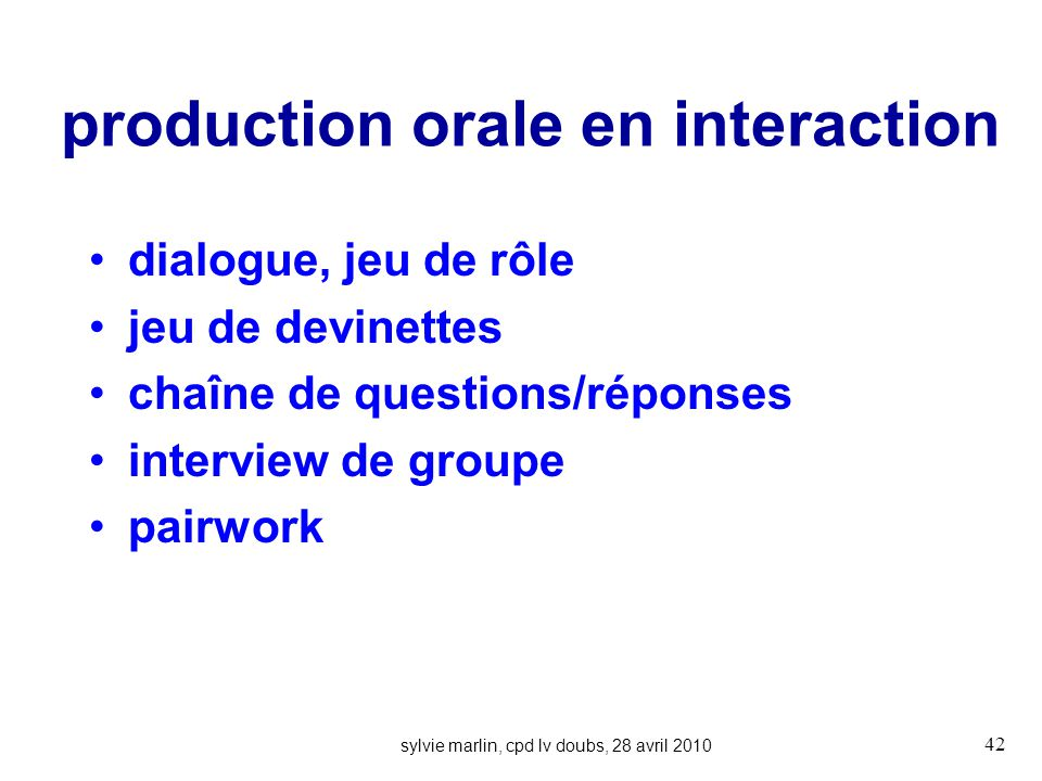 production orale en interaction