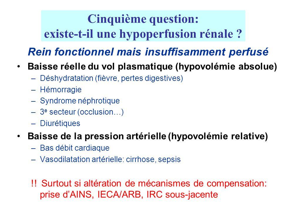 Cinquième question: existe-t-il une hypoperfusion rénale