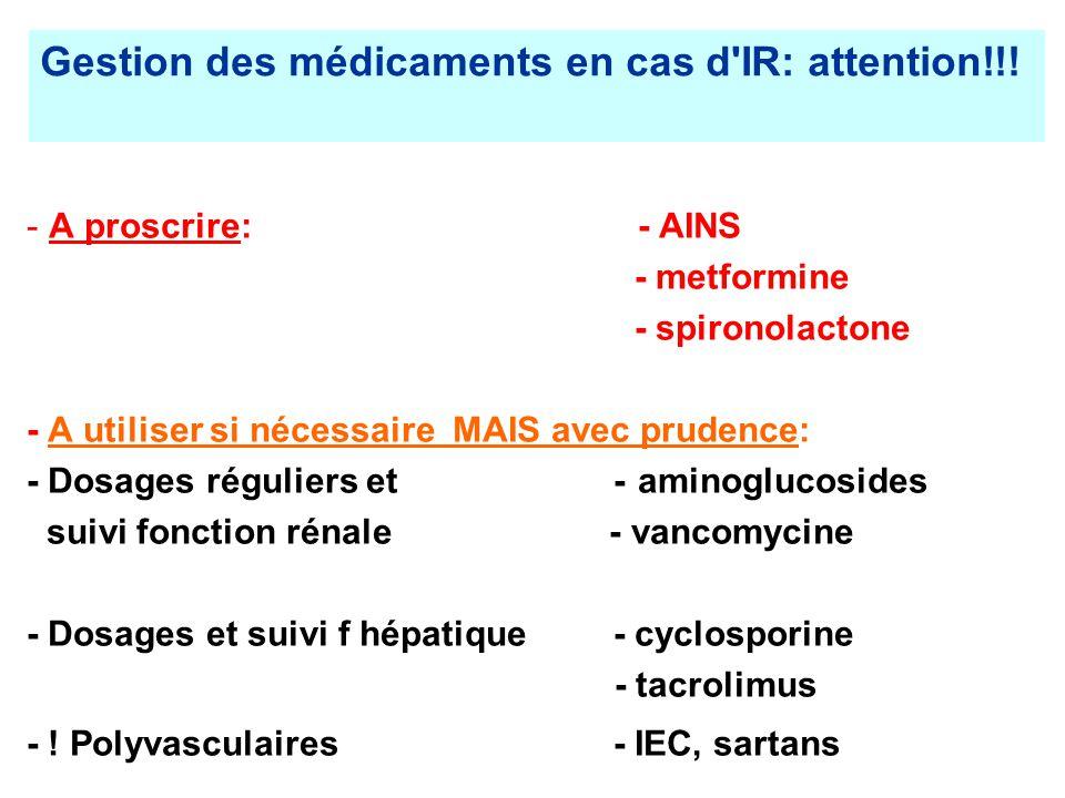 Gestion des médicaments en cas d IR: attention!!!