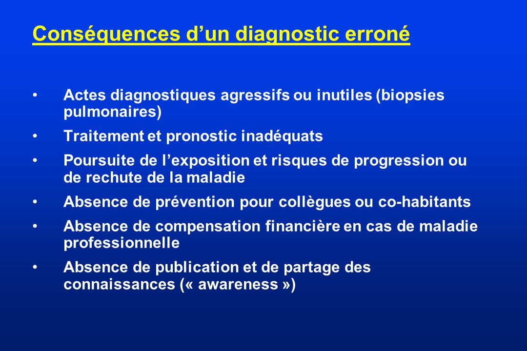 Conséquences d'un diagnostic erroné