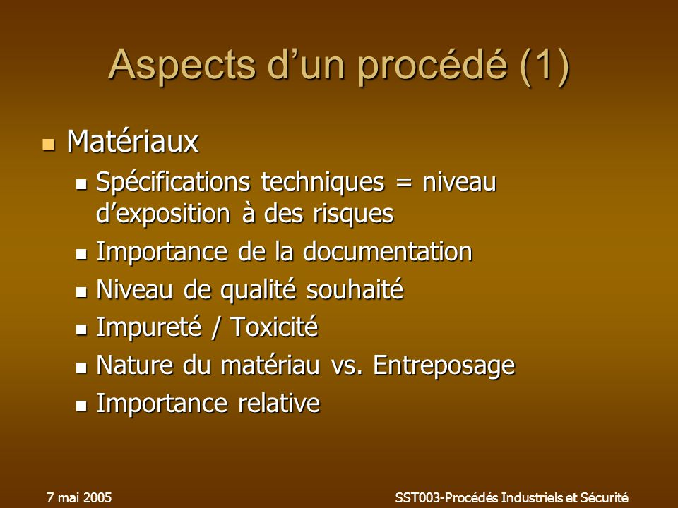 Aspects d'un procédé (1)