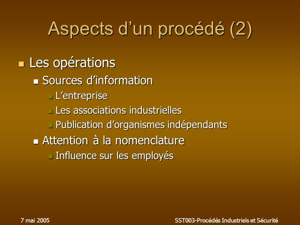 Aspects d'un procédé (2)