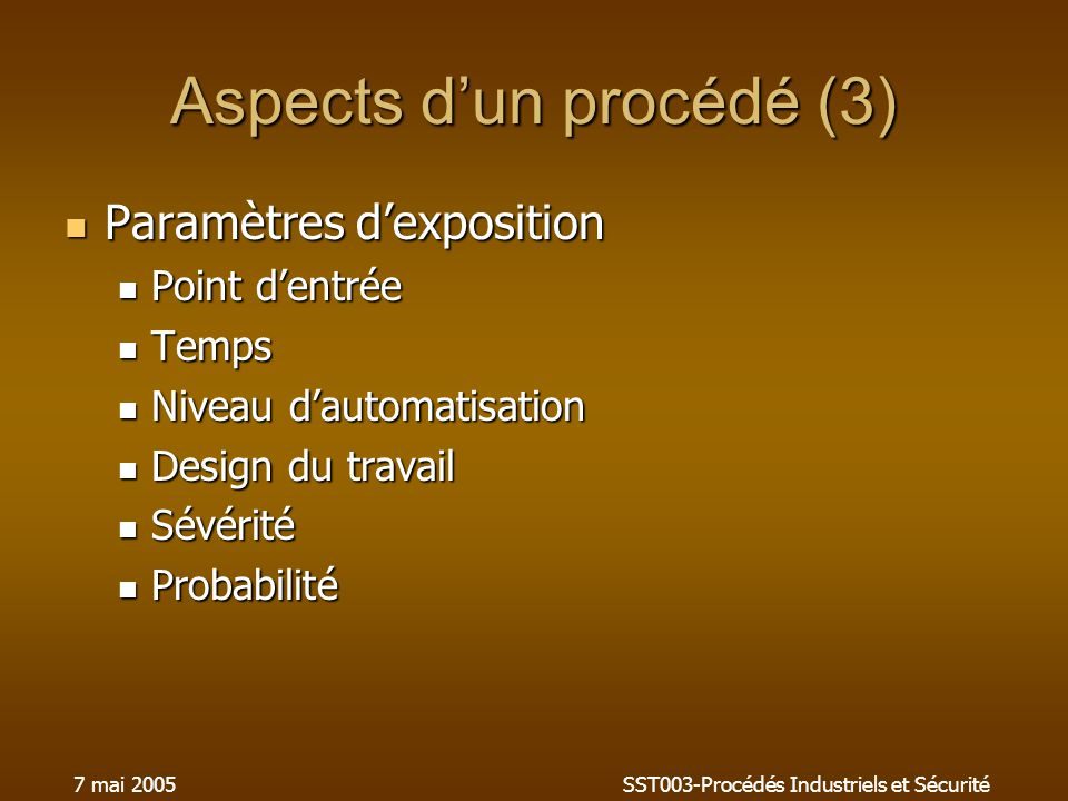 Aspects d'un procédé (3)