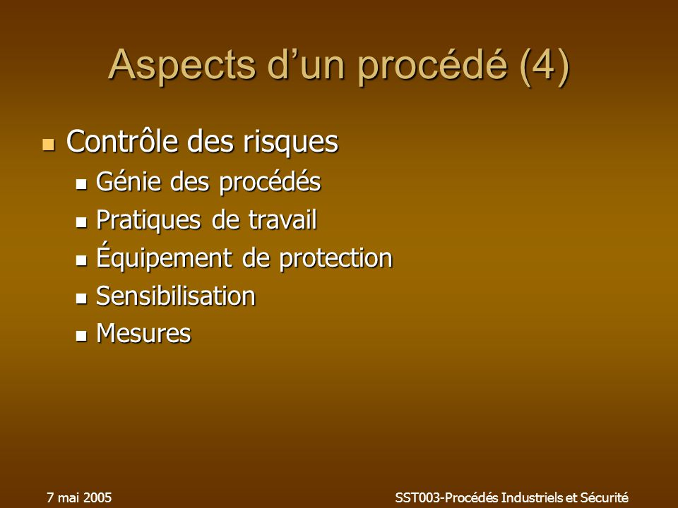 Aspects d'un procédé (4)