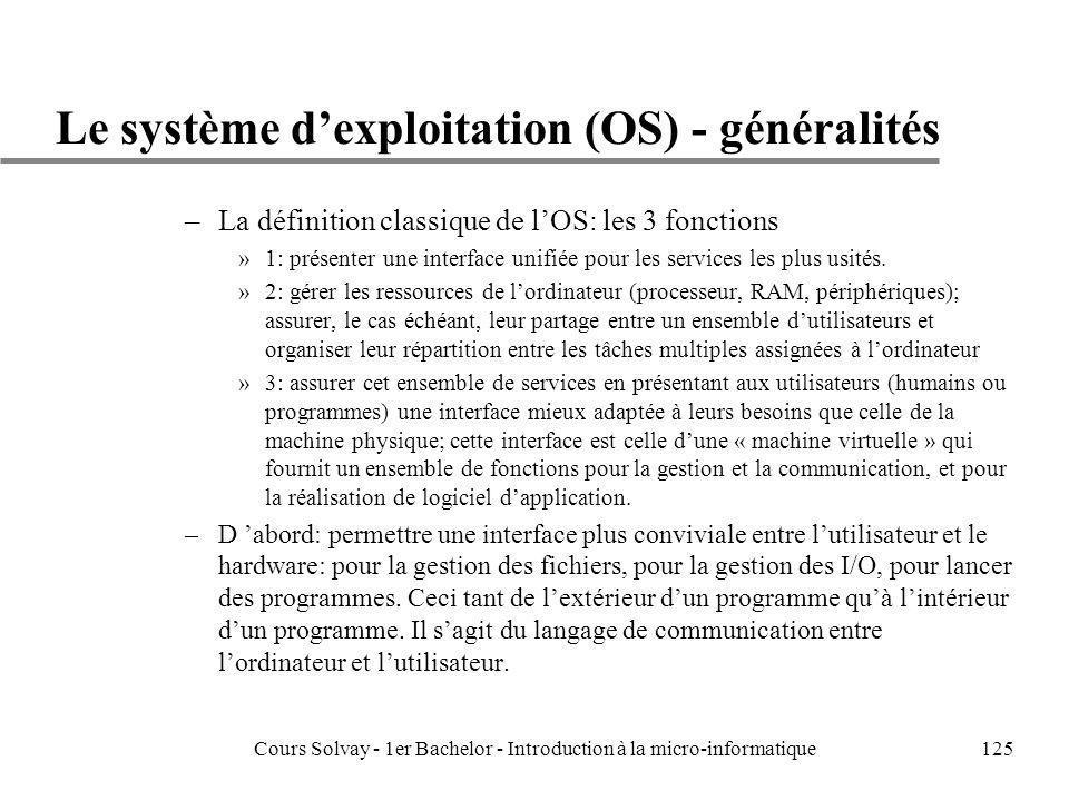 Le système d'exploitation (OS) - généralités