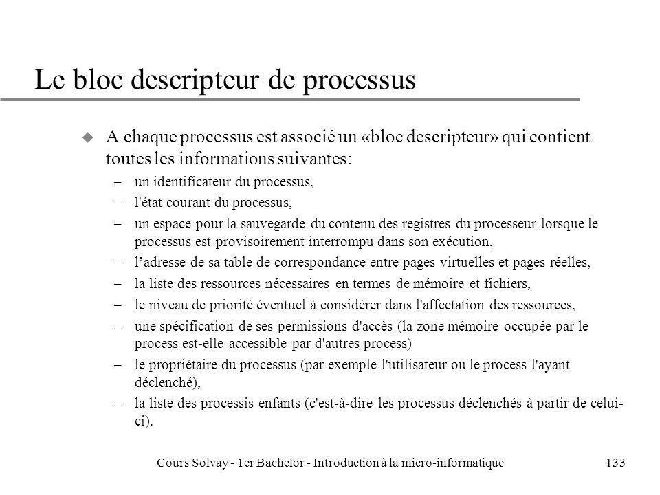 Le bloc descripteur de processus