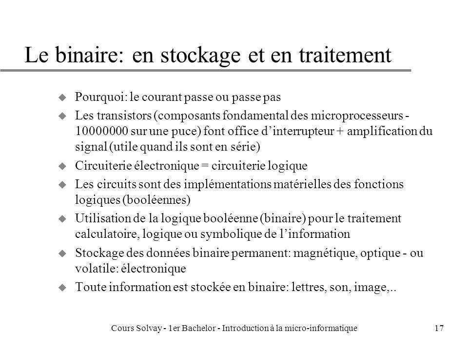 Le binaire: en stockage et en traitement