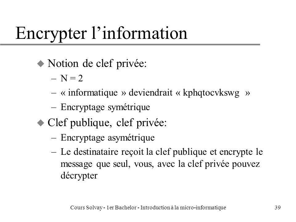 Encrypter l'information