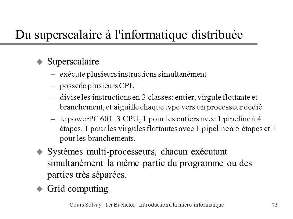 Du superscalaire à l informatique distribuée