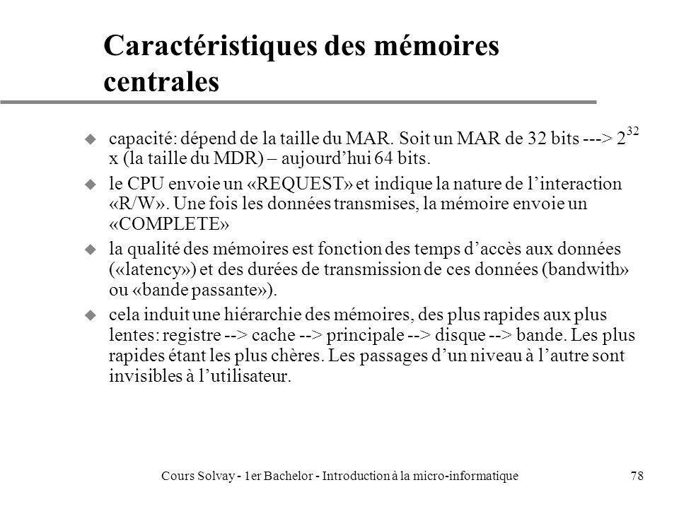 Caractéristiques des mémoires centrales