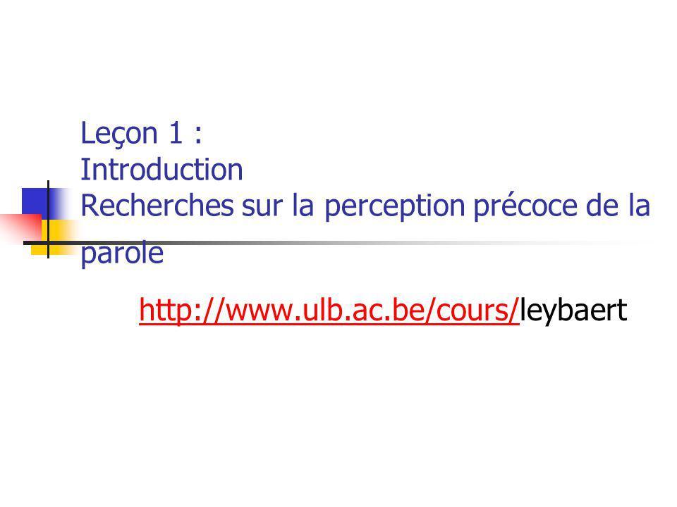 Leçon 1 : Introduction Recherches sur la perception précoce de la parole
