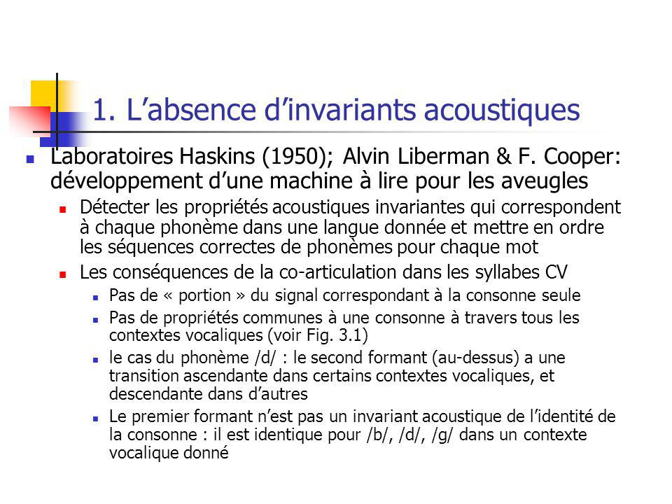 1. L'absence d'invariants acoustiques
