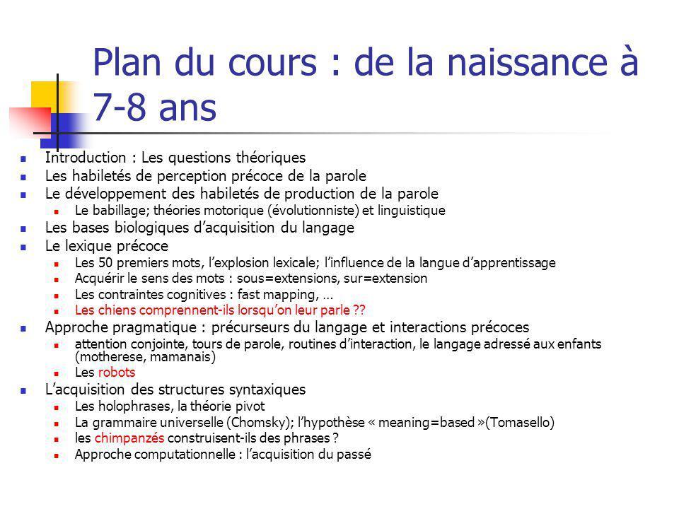 Plan du cours : de la naissance à 7-8 ans