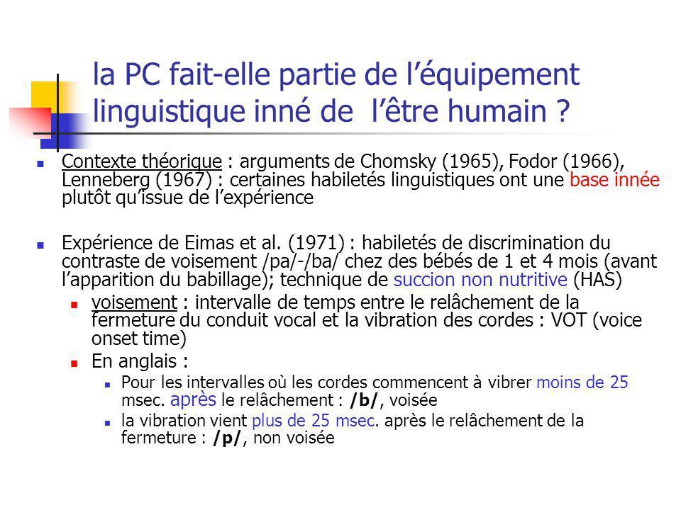 la PC fait-elle partie de l'équipement linguistique inné de l'être humain