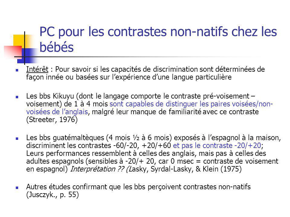 PC pour les contrastes non-natifs chez les bébés