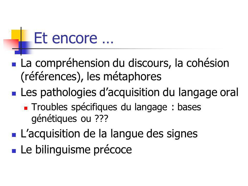 Et encore … La compréhension du discours, la cohésion (références), les métaphores. Les pathologies d'acquisition du langage oral.
