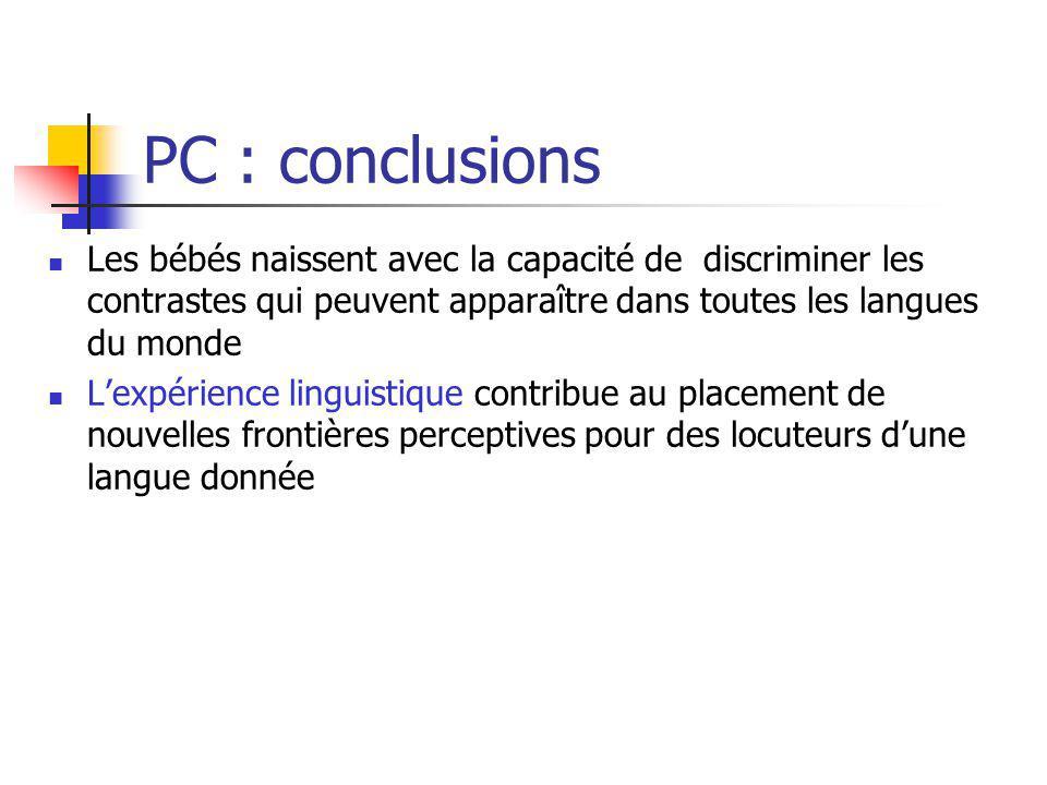 PC : conclusions Les bébés naissent avec la capacité de discriminer les contrastes qui peuvent apparaître dans toutes les langues du monde.