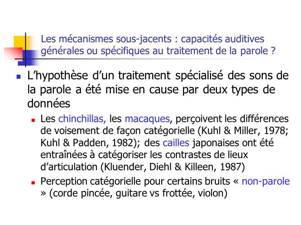 Les mécanismes sous-jacents : capacités auditives générales ou spécifiques au traitement de la parole