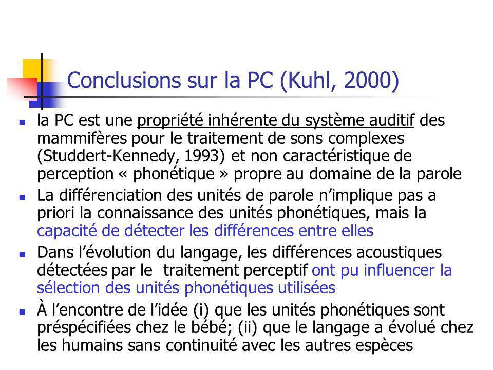 Conclusions sur la PC (Kuhl, 2000)