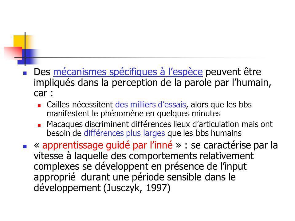Des mécanismes spécifiques à l'espèce peuvent être impliqués dans la perception de la parole par l'humain, car :