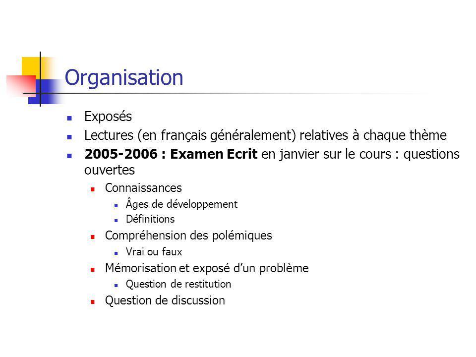 Organisation Exposés. Lectures (en français généralement) relatives à chaque thème.