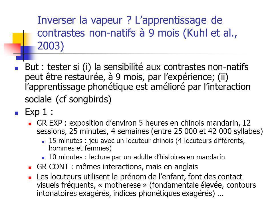Inverser la vapeur L'apprentissage de contrastes non-natifs à 9 mois (Kuhl et al., 2003)