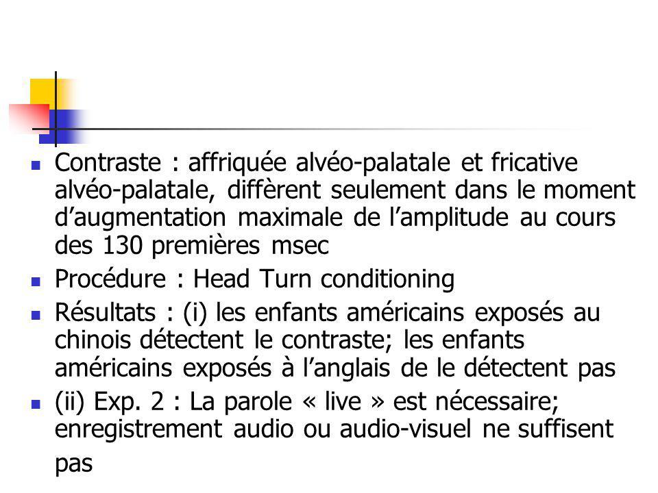 Contraste : affriquée alvéo-palatale et fricative alvéo-palatale, diffèrent seulement dans le moment d'augmentation maximale de l'amplitude au cours des 130 premières msec