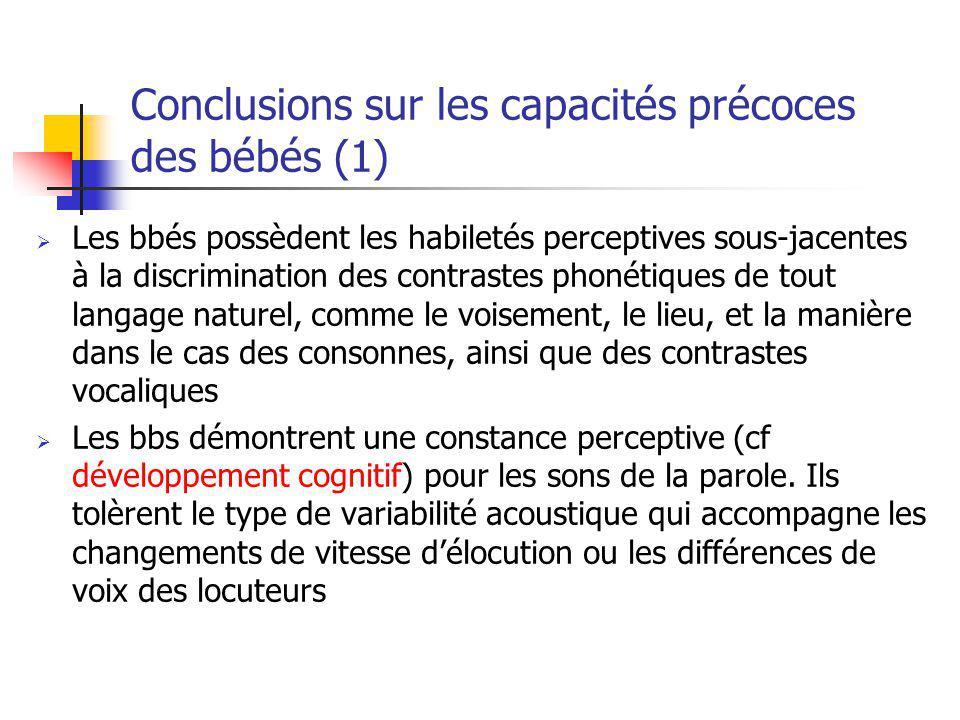 Conclusions sur les capacités précoces des bébés (1)
