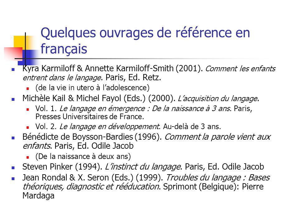 Quelques ouvrages de référence en français