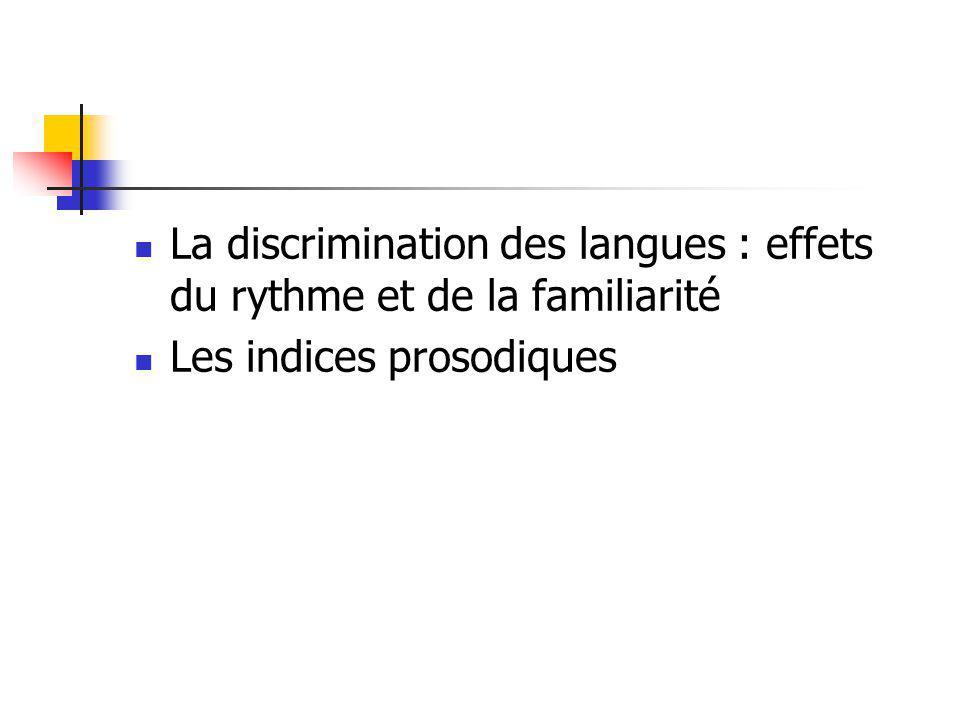 La discrimination des langues : effets du rythme et de la familiarité