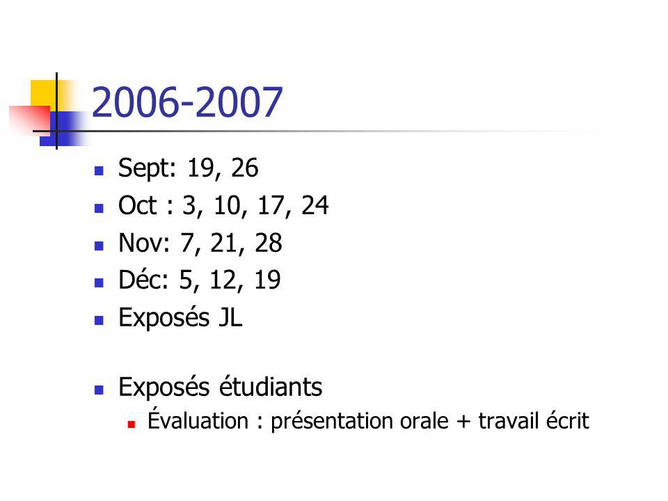2006-2007 Sept: 19, 26. Oct : 3, 10, 17, 24. Nov: 7, 21, 28. Déc: 5, 12, 19. Exposés JL. Exposés étudiants.