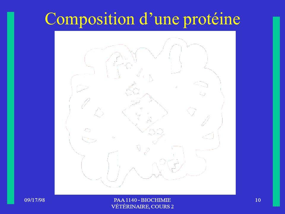Composition d'une protéine