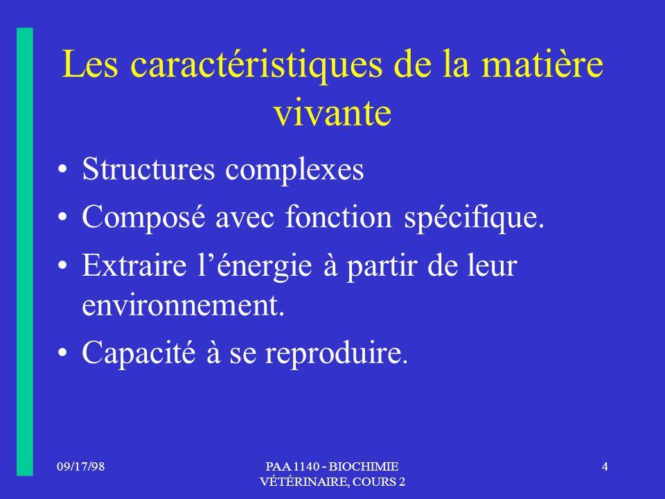 Les caractéristiques de la matière vivante