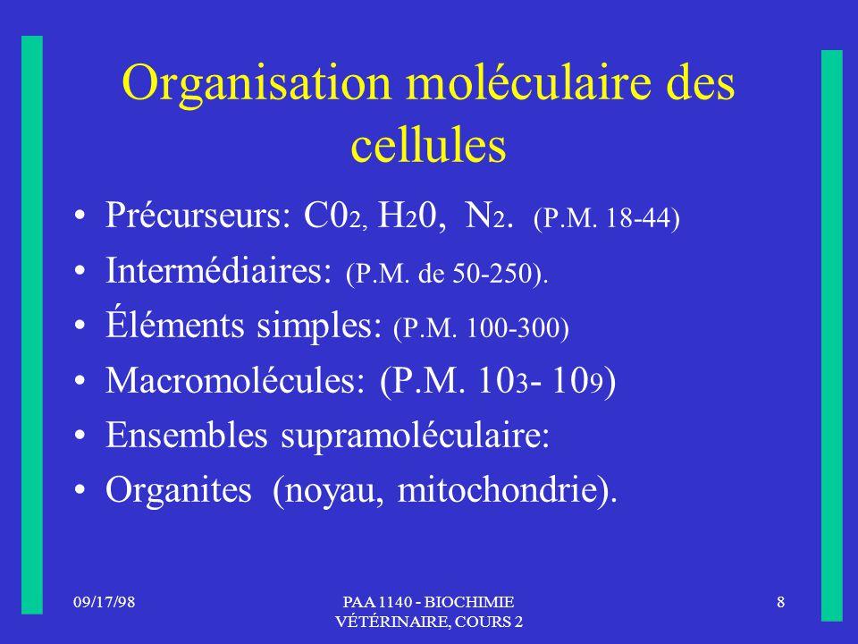 Organisation moléculaire des cellules
