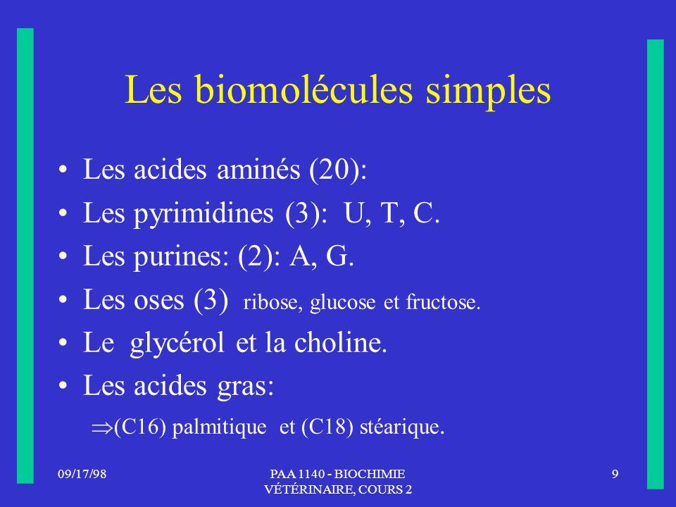 Les biomolécules simples