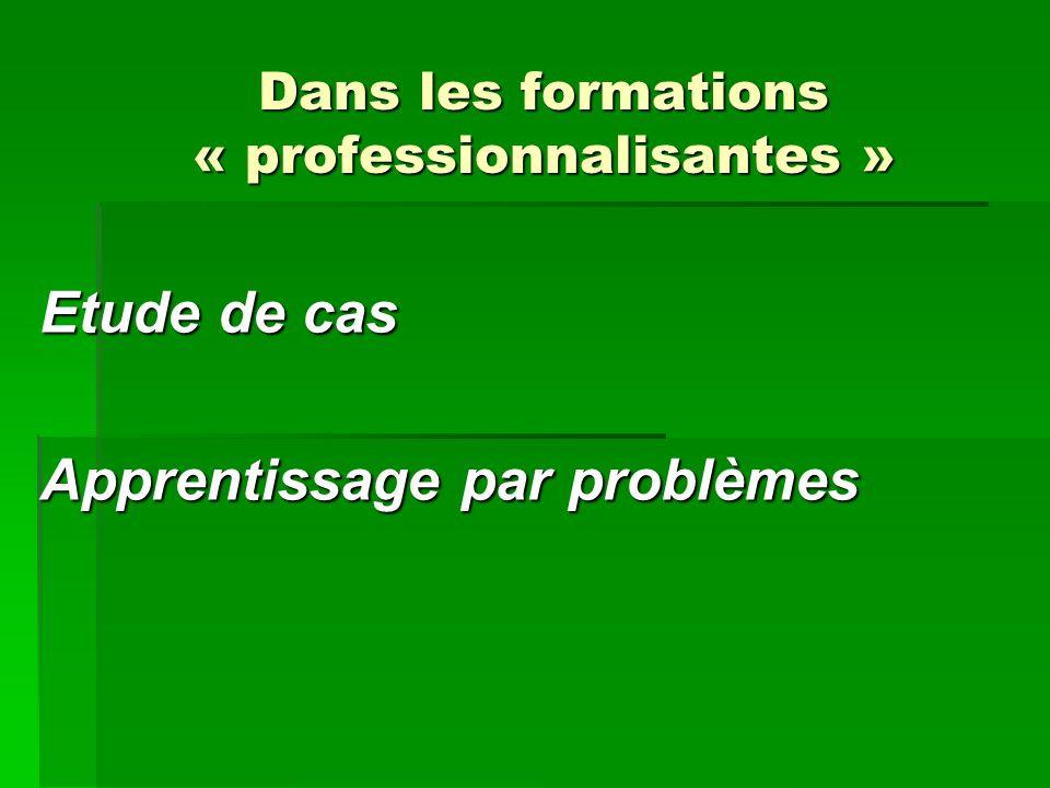 Dans les formations « professionnalisantes »
