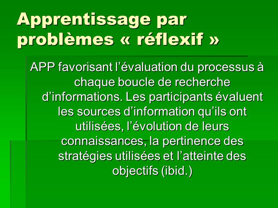 Apprentissage par problèmes « réflexif »