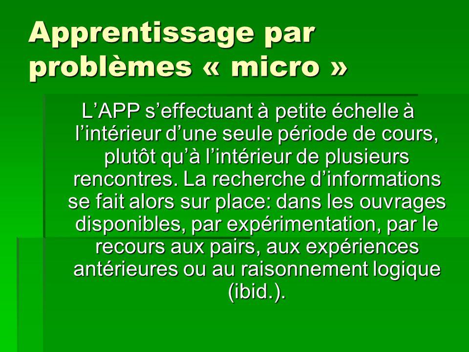 Apprentissage par problèmes « micro »