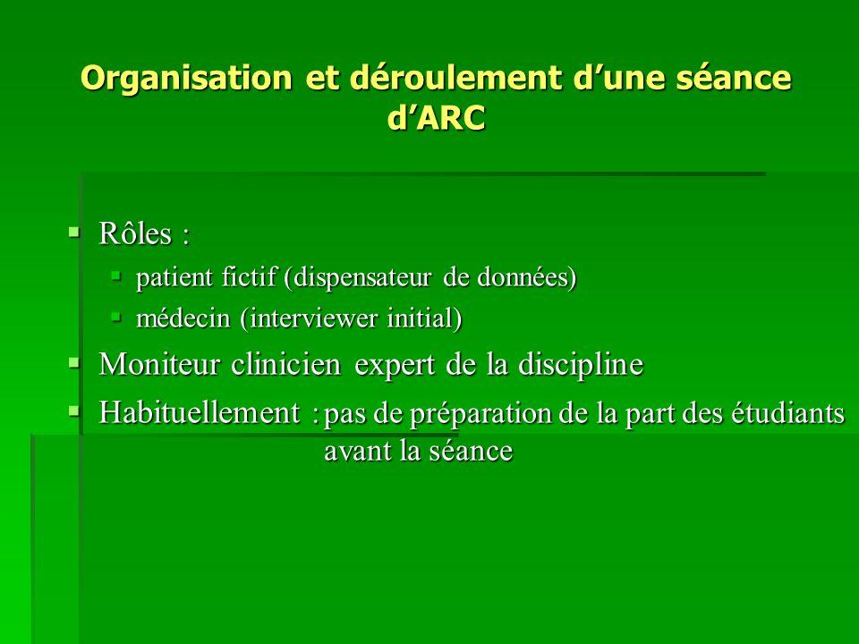 Organisation et déroulement d'une séance d'ARC