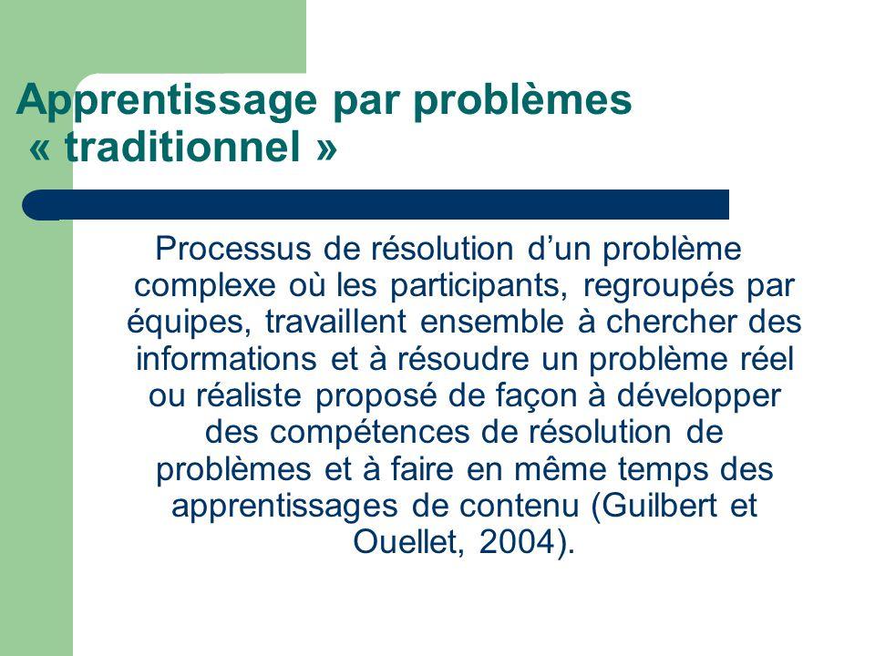 Apprentissage par problèmes « traditionnel »