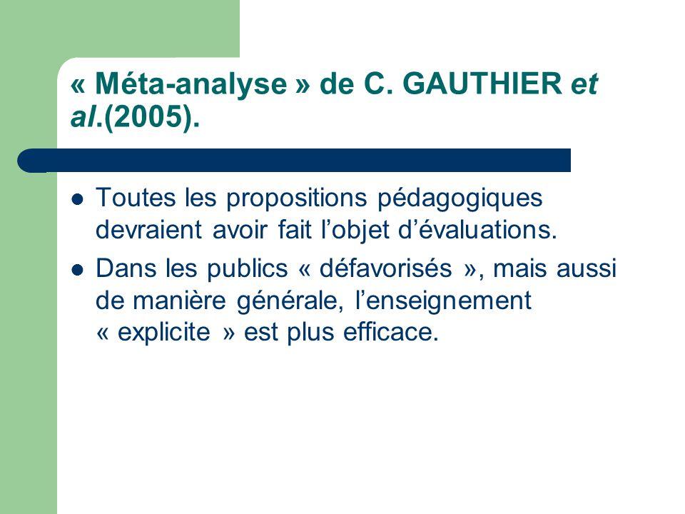 « Méta-analyse » de C. GAUTHIER et al.(2005).