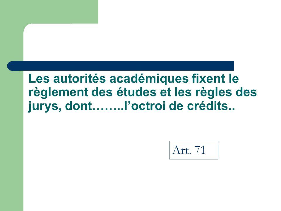 Les autorités académiques fixent le règlement des études et les règles des jurys, dont……..l'octroi de crédits..