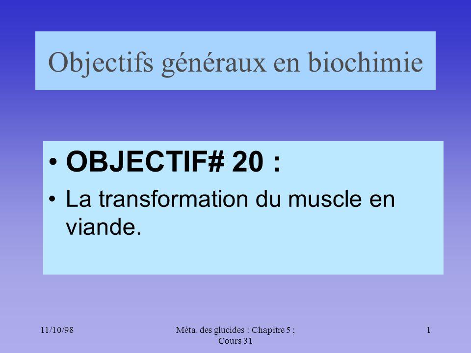 Objectifs généraux en biochimie