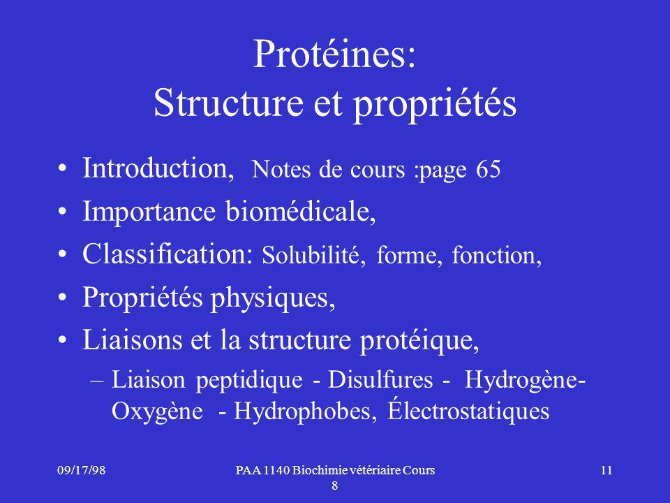 Protéines: Structure et propriétés